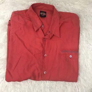 Harley Davidson 100% silk button down shirt Sz XL